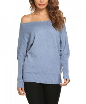 Zeagoo Shoulder Batwing Pullover Sweater