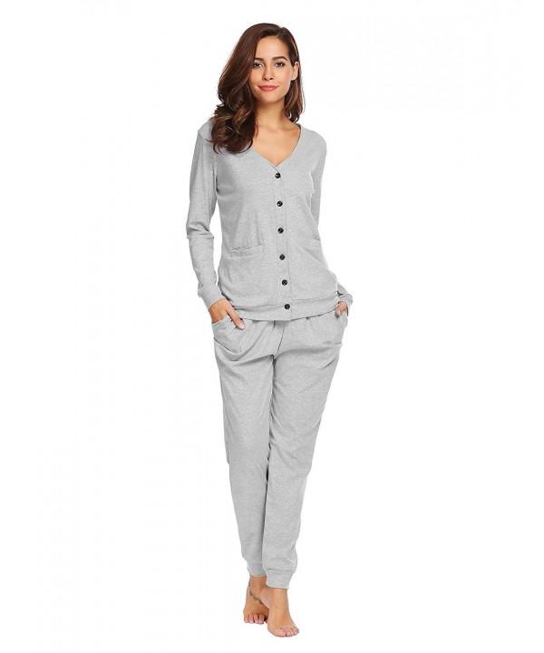 V Neck Sleeve Cardigan Sleepwear Pockets