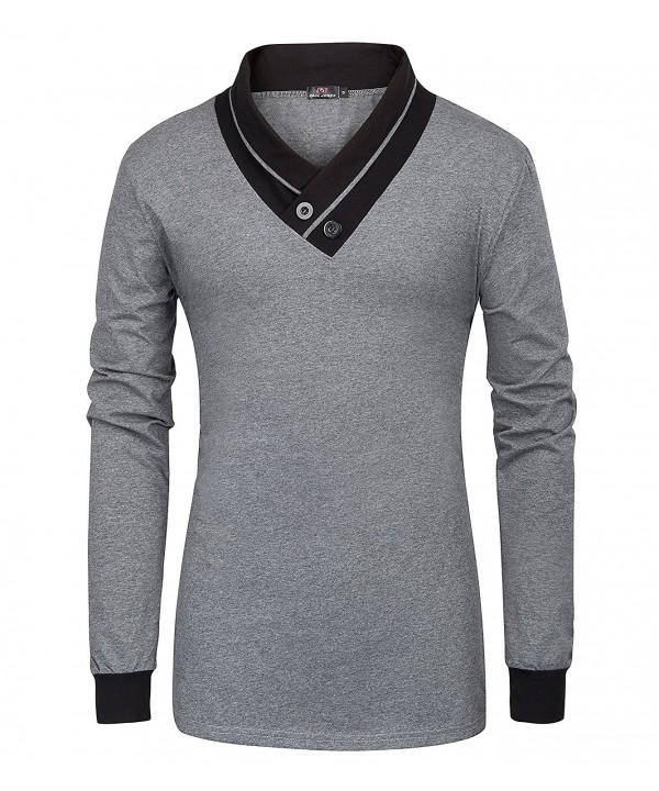 Mens Cotton V Neck Button Sleeve