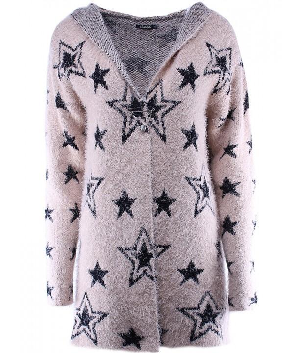 Fuzzy Star Front Cardigan Khaki