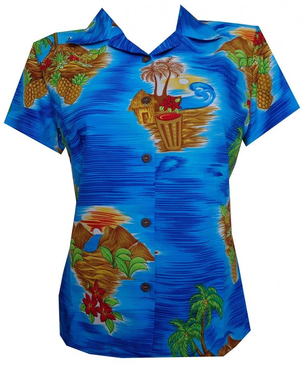 Alvish Hawaiian Scenic Flower Blouse