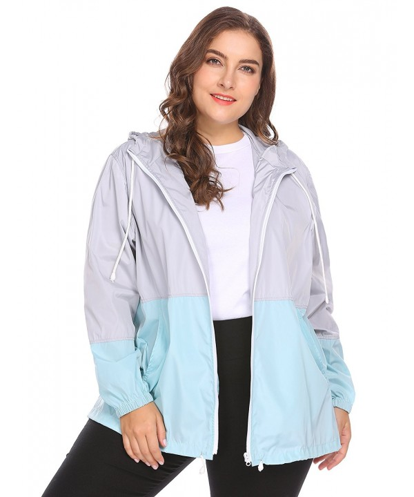 128e0db1e62 Women s Plus Size Rain Jacket Lightweight Hooded Waterproof Active ...