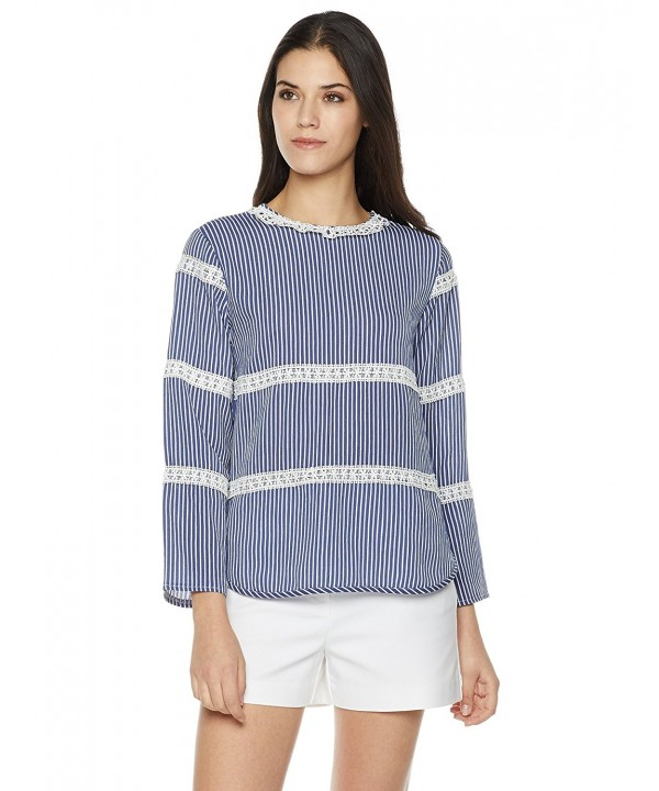 1a6536c0c7c Women's Round Neck Lace-Trim Long-Sleeve Top - Blue With White Striped -  CG187Q8NEZU