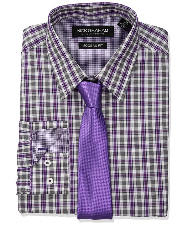 Nick Graham Check Purple Sleeve