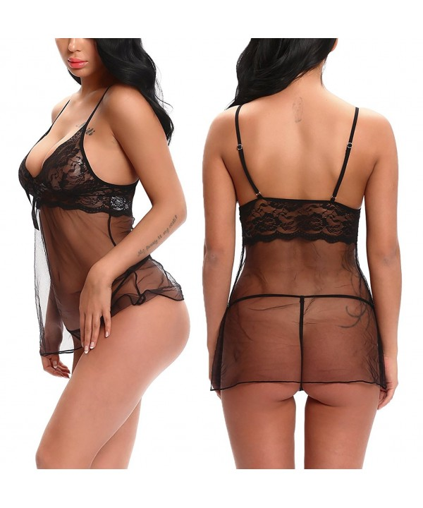 18c258e101cf Women Chemise Lace Babydoll Lingerie Sleepwear With V-Neck and ...