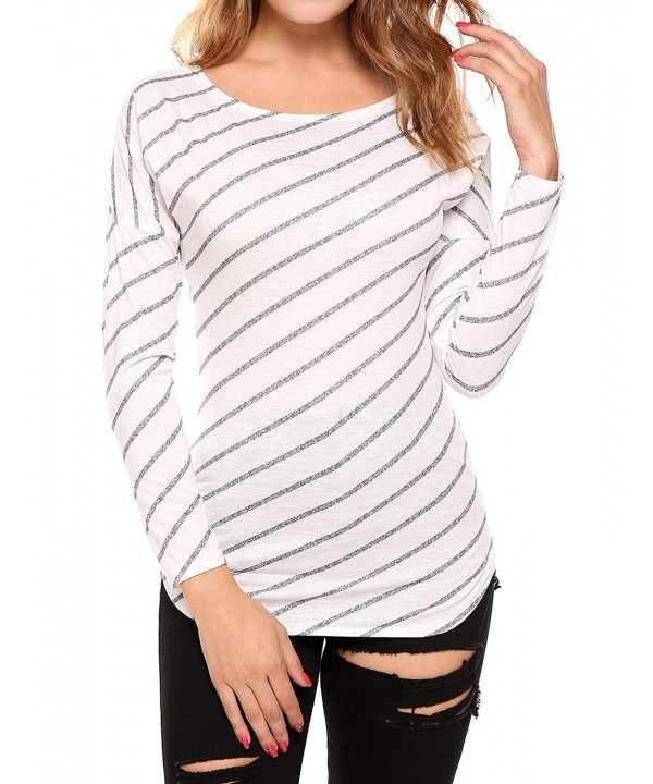 a1b136e0d13 Women s Striped Long Sleeve Casual Tops Shirt - 002-white - CJ183Y6U9ZE