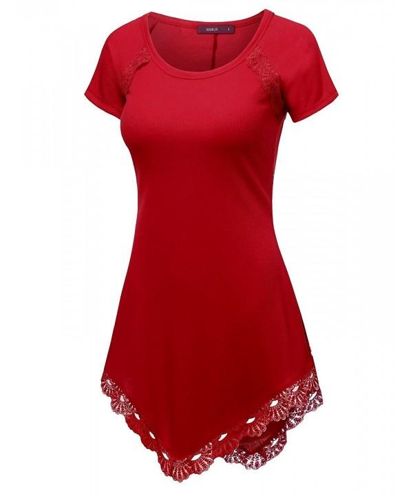 Doublju Asymmetrical Tunic Dress SCARLET