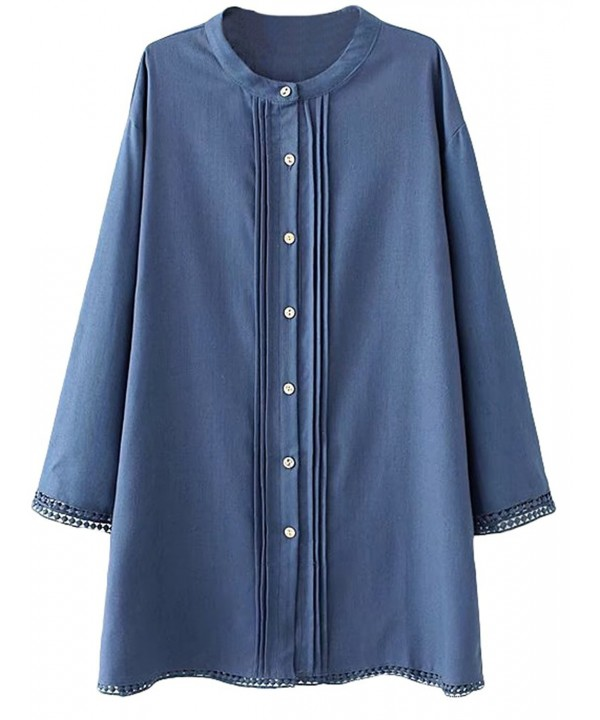 Minibee Womens Sleeve Button Blouse