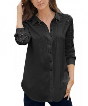 LOSRLY Sleeve Casual Button Tops Black