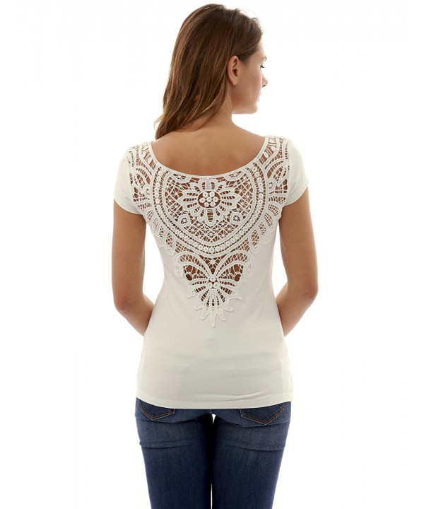 PattyBoutik Womens Crochet Sleeve Off White