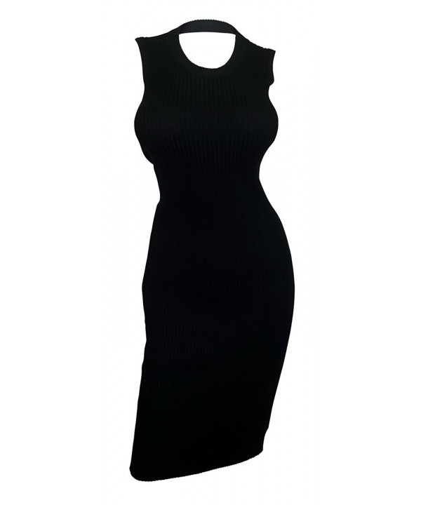 eVogues Ribbed Sleeveless Dress Black