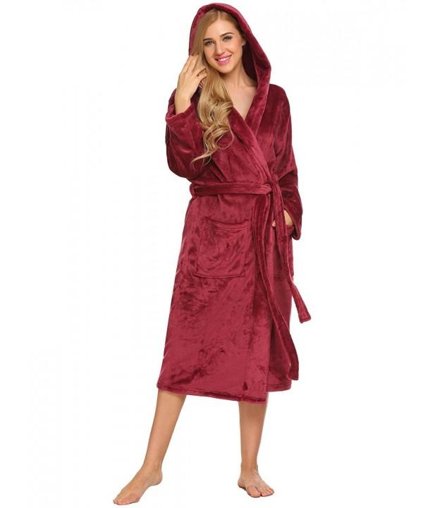 Ekouaer Womens Plush Fleece Bathrobe