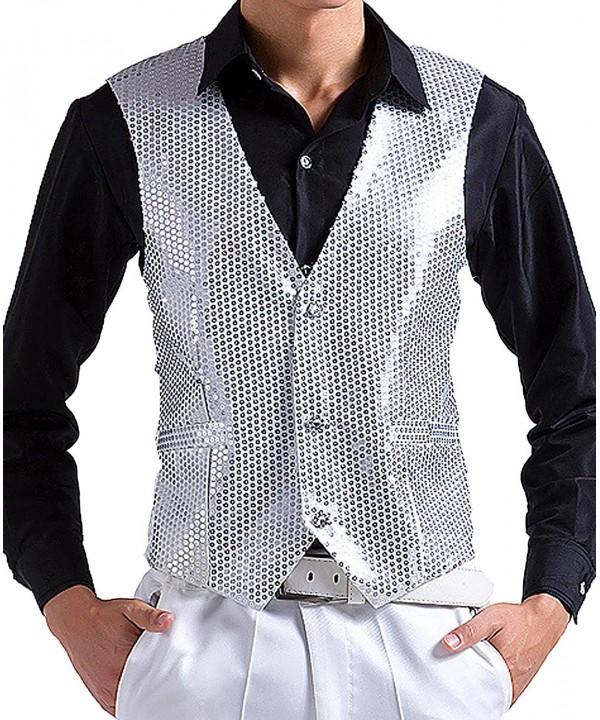 JOKHOO Mens Sequins Vest Silver