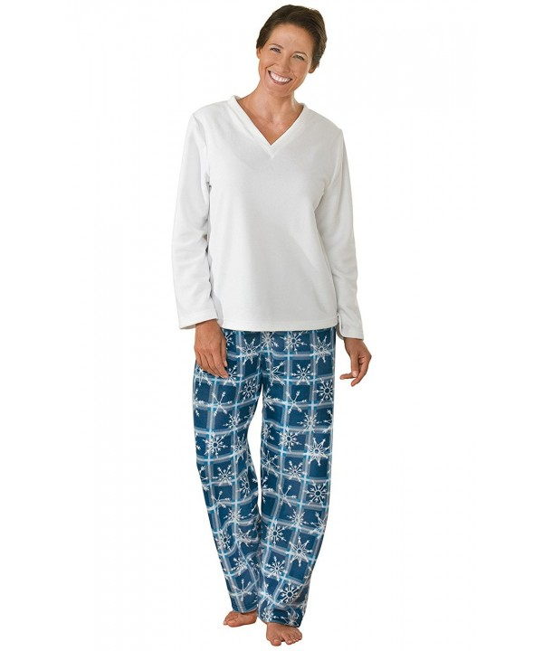 PajamaGram Womens Snowflake Pajamas Long Sleeves