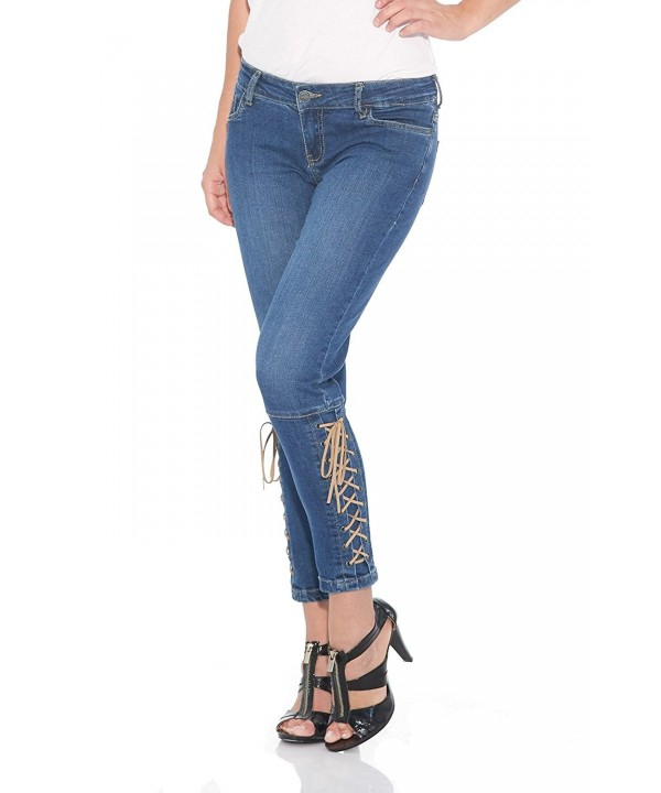 Suko Jeans Women Cropped Lace Up