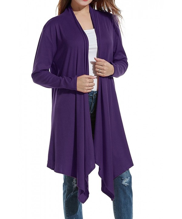 Womens Asymmetrical Waterfall Cardigan Outerwear