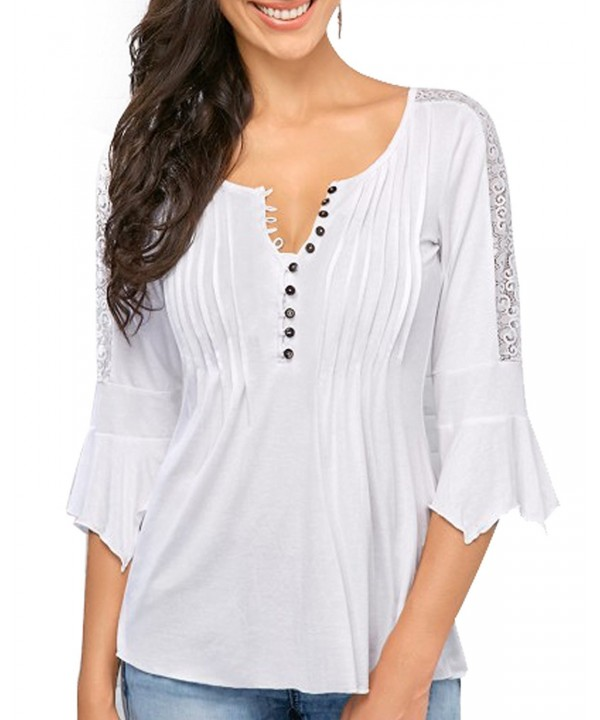 Women Casual Henley Pleated Sleeve