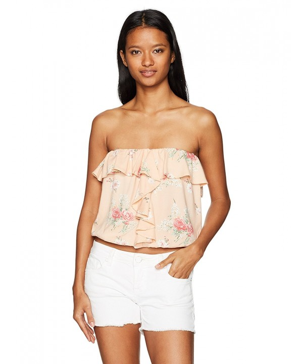 Angie Womens Printed Ruffle Blush