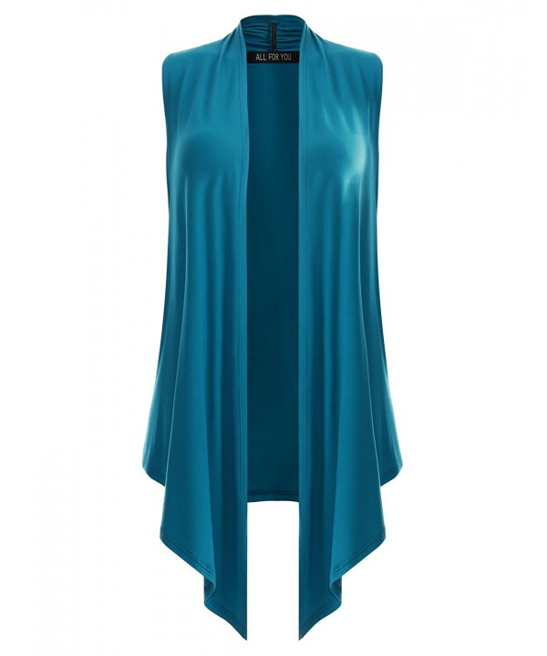 F Y Womens Sleeveless Cardigan Turquoise