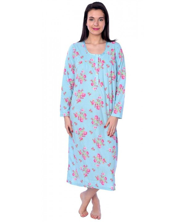 Womens fleece Floral Sleeve Nightgown
