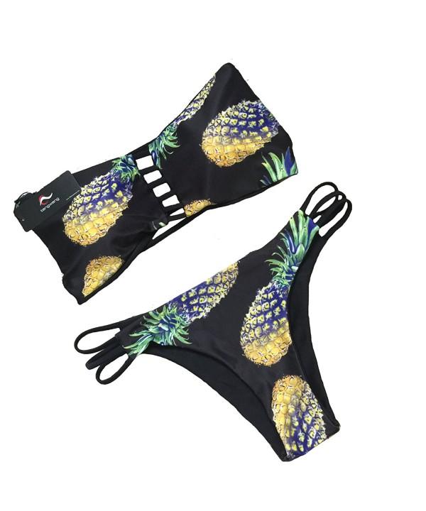 tengweng Bikini Bandeau Swimsuit Swimwear