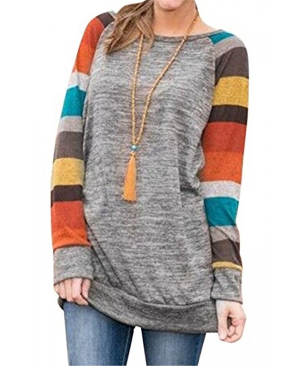 Womens Cotton Knitted Sleeve Striped