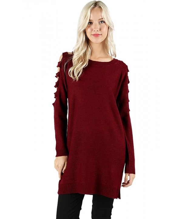 2LUV Womens Shoulder Sweater Burgundy