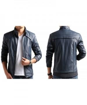 d810749a7 Faux Leather Men Moto Jacket Casual Wear - Dark Blue - C112NDACLPO