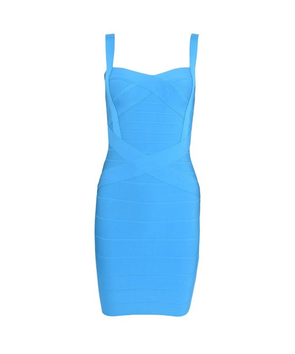 Women's Mini Strap Light Spaghetti Ce128oj18zl Solid Dress Blue Bandage Rayon PXliOZTwuk