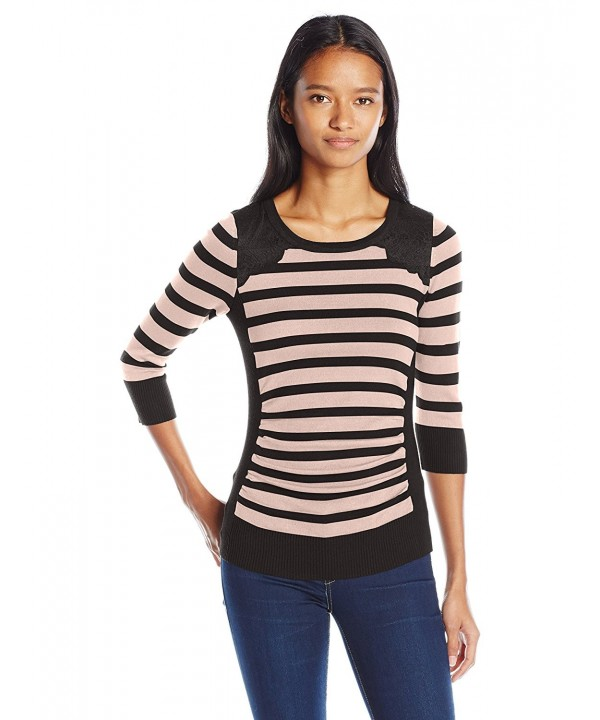 Byer Juniors Shirred Striped Sweater