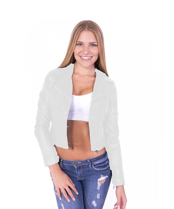 Leather Biker Jacket Zipper Ivory