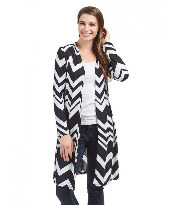 WSK1480 Womens Sleeve Cardigan Chev_White