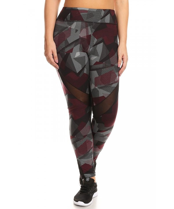 Printed Activewear Leggings Contrast Burgundy
