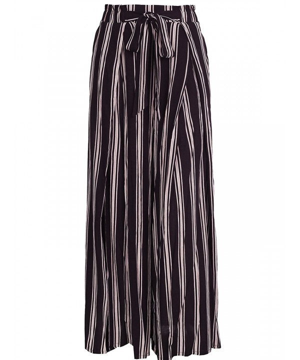 BerryGo BECL0709914 Womens Boho High Waist Split Stripe Wide Leg Pants L