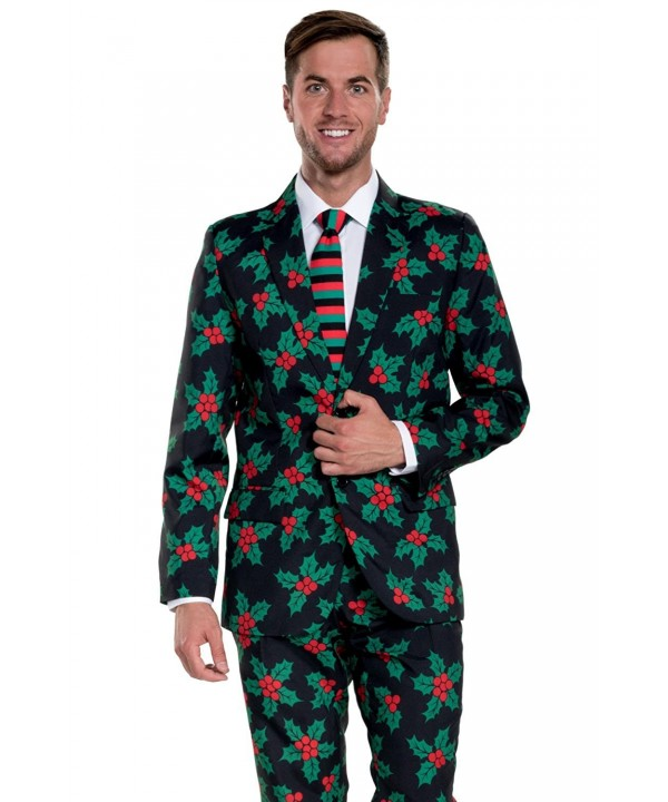 Christmas Party Suit Men.Men S Black Holly Mistletoe Ugly Christmas Suit Christmas Party Suit Cx1869zccc4