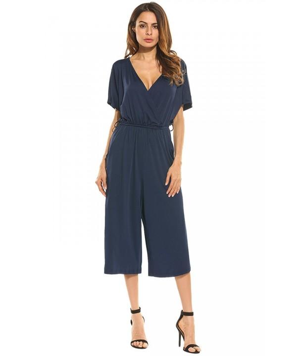 ELESOL Womens Cotton Jumpsuit Pockets