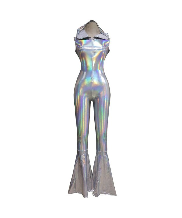 Iridescent Holographic Sleeveless Jumpsuit 8083Silver