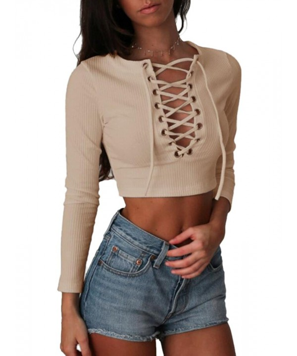 Womens Long Sleeve Crop Khaki