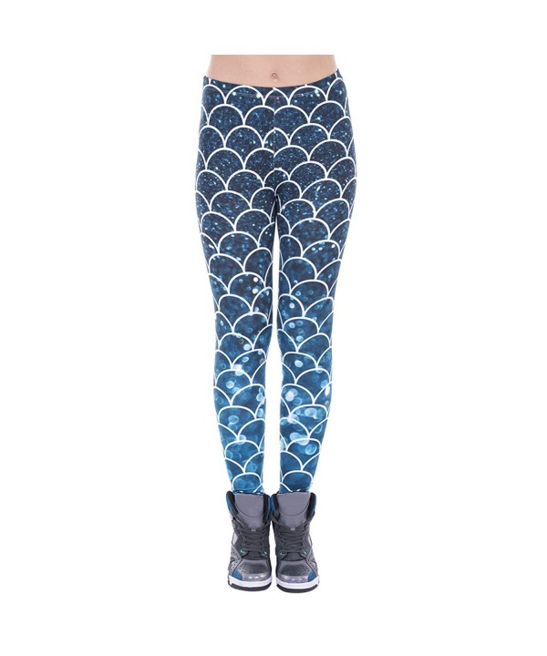 Shiny Starry Leggings Mermaid Printed