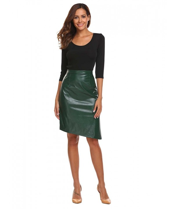 Chigant Womens Leather Pencil Bodycon
