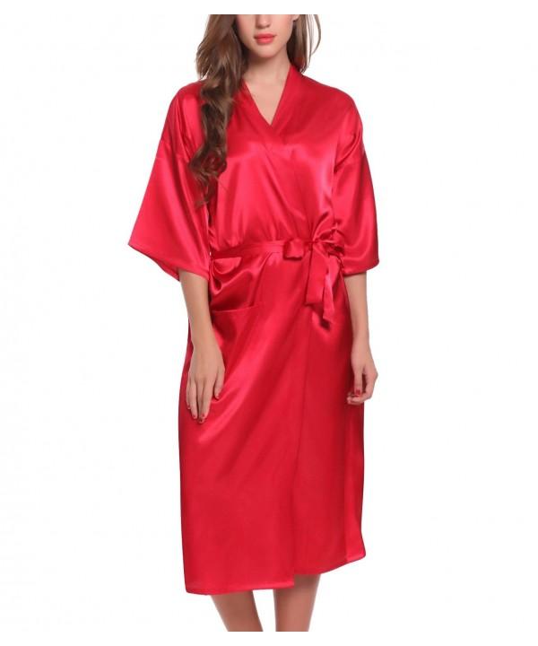 ADORNEVE Kimono Solid colored Bathrobe Nightgown