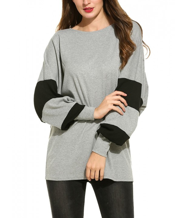 c9fa4555d4e Women s Casual Scoop Neck Long Sleeve Batwing Oversize Loose Blouse ...