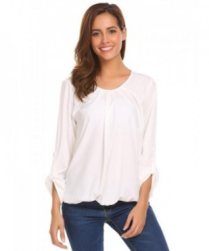 Mofavor Womens Pleated Blouses T Shirts