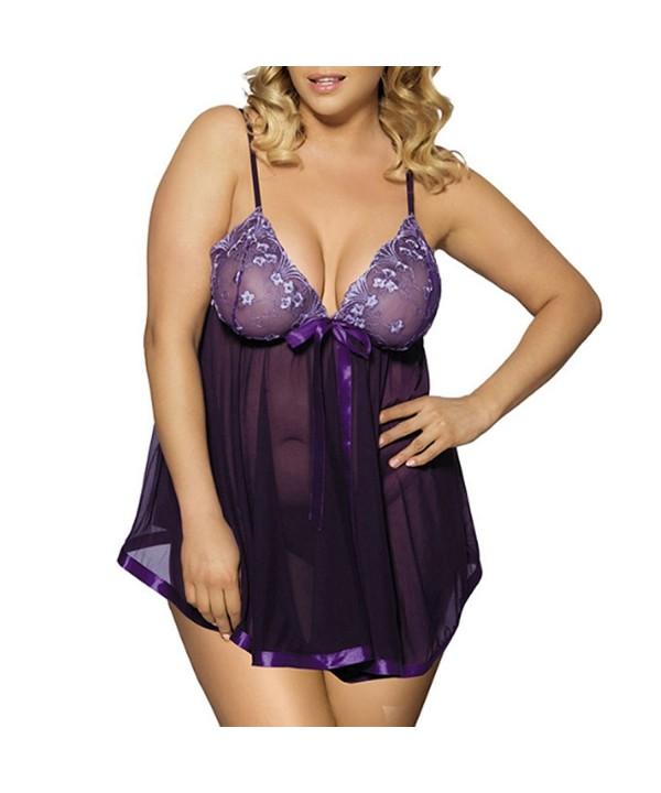 73c89ebd2a4a Women Sexy Lingerie Plus Size Sleepwear Sequin Lace Chemise ...