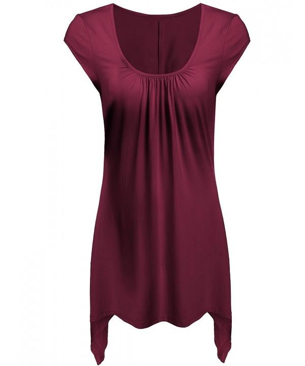 aec346106eb ... Women's Short Sleeve Flare Tunic Tops For Leggings Flowy Shirt - Wine  Red - CD182YDMX6N. On sale! New. Beyove Womens Sleeves Handkerchief Hemline