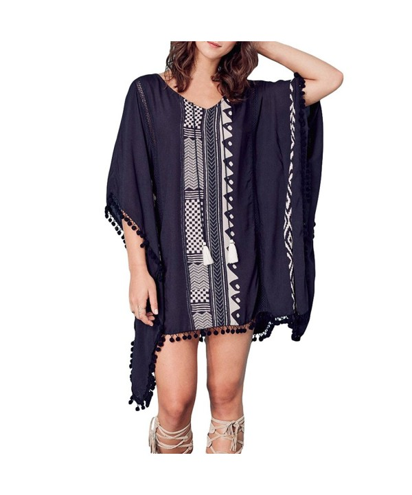Womens Bathing Coverups V Neck Tassel