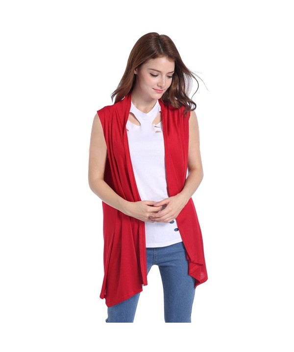 Lusiyu Womens Sleeveless Cardigan Asymmetric