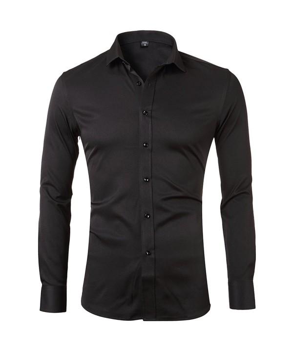 Bamboo Shirts Sleeve Elastic MenBlack