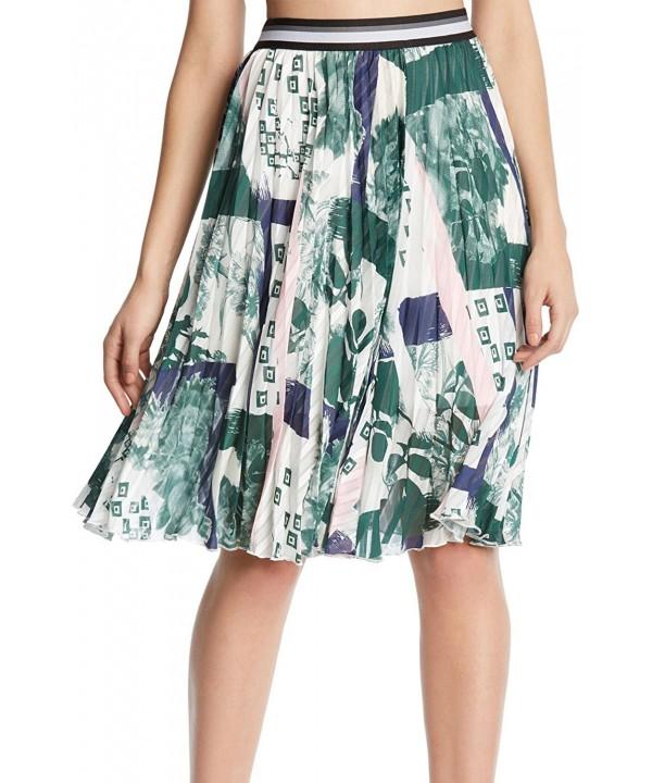 Kiind Pleated Print Skirt Large