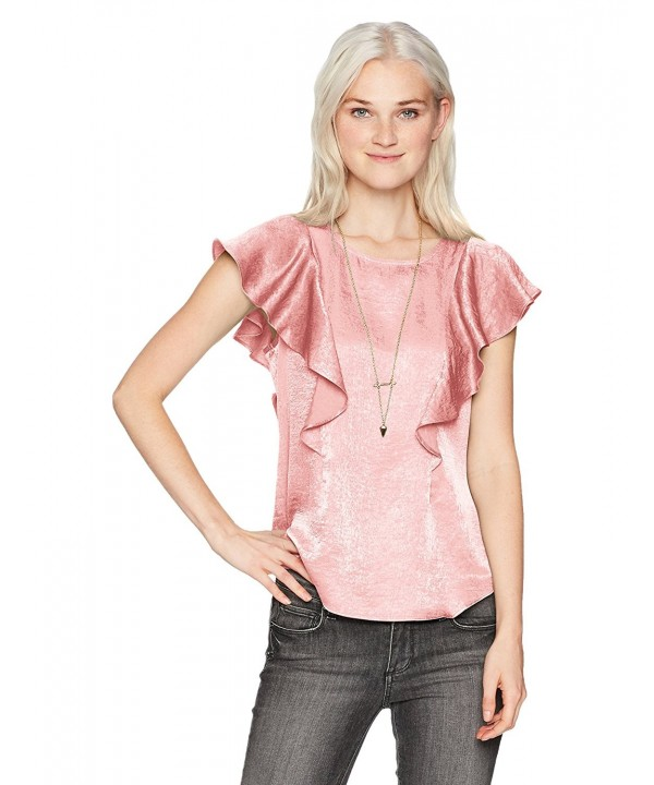Byer Womens Sleeve Ruffled